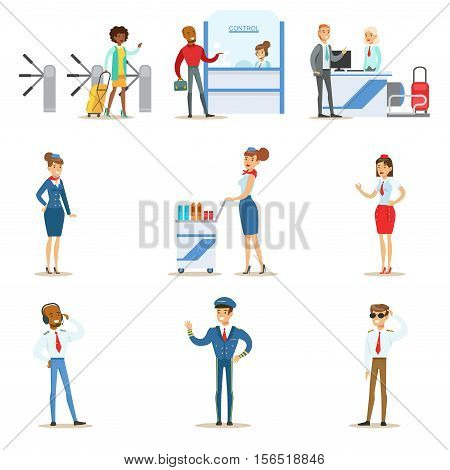 People In The Airport Interior Passing Through The Flight Registration And Passport Control, And Air Service Professional Pilots and Flight Attendants. Part Of Air Travel And Travelers In The Airport Set Of Cartoon Colorful Vector Illustrations