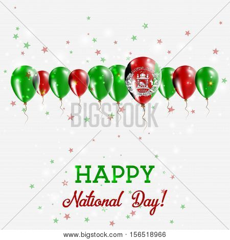 Afghanistan Independence Day Sparkling Patriotic Poster. Happy Independence Day Card With Afghanista