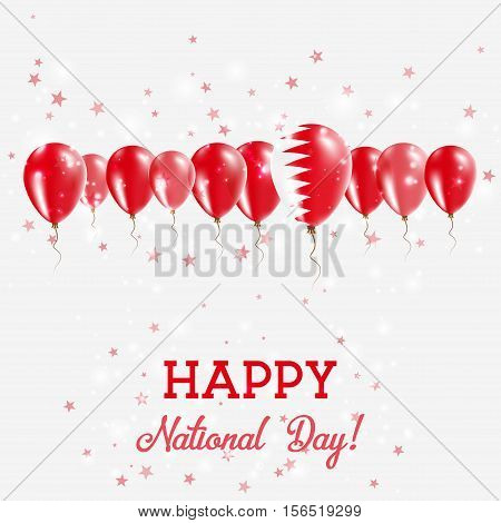 Bahrain Independence Day Sparkling Patriotic Poster. Happy Independence Day Card With Bahrain Flags,