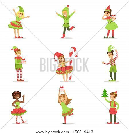 Children Dressed As Santa Claus Christmas Elves For The Costume Holiday Carnival Party. Happy Kids In Their Holyday Disguises Set Of Vector Cartoon Illustrations.