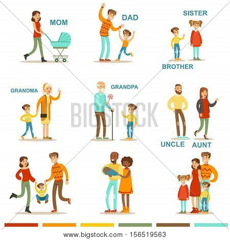 Happy Large Family With All The Relatives Gathering Including Mother, Father, Aunt, Uncle And Grandparents Illustrations With Corresponding Words. All The Household Members Enjoying Spending Time Together Vector Cartoon Set.
