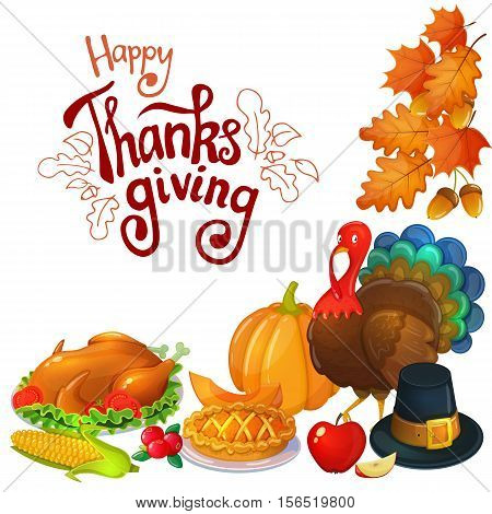 Corner frame with Thanksgiving icons. Colorful illustration of Thanksgiving day greeting card. Traditional Thanksgiving food leaves and turkey. Thanksgiving Day background for decoration. Vector.