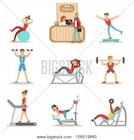 People Member Of The Fitness Class Working Out, Exercising With And Without Equipment, Training In Trendy Sportswear. Healthy Lifestyle And Fitness Set Of Illustrations With Men And Women Visiting Gym.