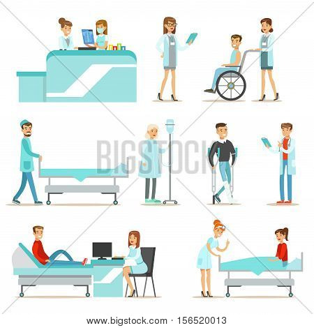 Injured And Sick Patients In The Hospital Receiving Medical Treatment From Professional Doctors And Nurses. People And Healthcare Set Of Illustrations With Men And Women Getting Medical Help In Hospital.