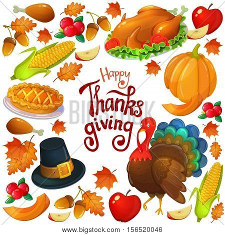 Round frame with Thanksgiving icons. Colorful illustration of Thanksgiving day greeting card. Traditional Thanksgiving food leaves and turkey. Thanksgiving Day background for decoration. Vector.
