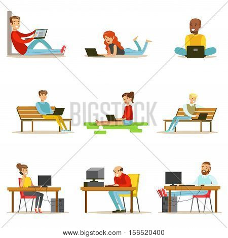 Happy People Spending Their Time Using Computer Collection Of Vector Illustrations With Men And Women Using Modern Technology. Cartoon Computer And Lap Top Users Working And Having Their Leisure Surfing Internet.
