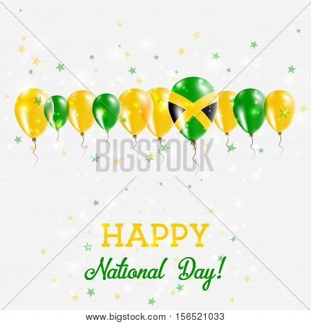 Jamaica Independence Day Sparkling Patriotic Poster. Happy Independence Day Card With Jamaica Flags,