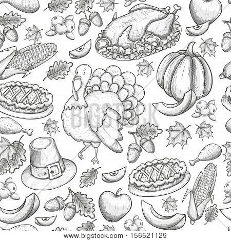 Seamless pattern of Thanksgiving icons. Sketch style Thanksgiving day greeting card. Vintage Thanksgiving food leaves and turkey. Thanksgiving Day drawing background for decoration. Vector.