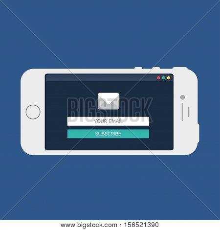 Adaptive Web Phone Template and Gadget Elements for site form of email subscribe newsletter on Smartphone. Vector