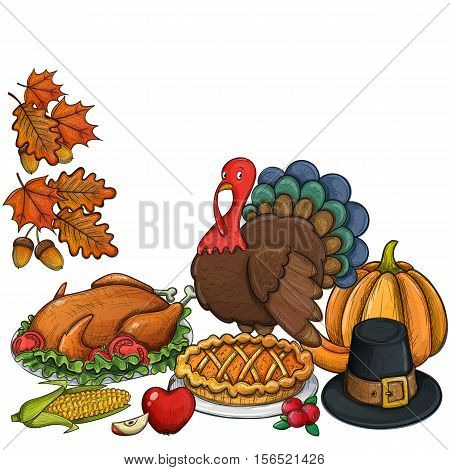 Still life colorful Thanksgiving icons. Thanksgiving day greeting card. Vintage Thanksgiving food leaves and turkey. Thanksgiving Day background for decoration. Vector.