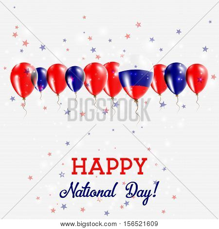 Russian Federation Independence Day Sparkling Patriotic Poster. Happy Independence Day Card With Rus