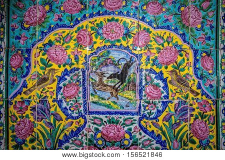 Traditional tiles on the wall in Tehran capital of Iran