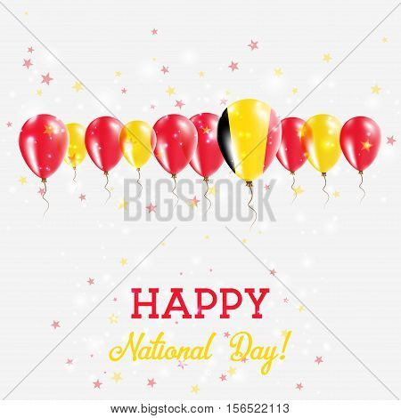 Belgium Independence Day Sparkling Patriotic Poster. Happy Independence Day Card With Belgium Flags,