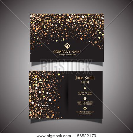 Elegant business card with a gold and black design