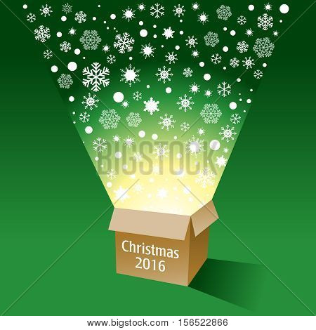 A magical cardboard box with radiant snowflakes flying out