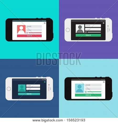 Adaptive Web Phone Template and Gadget Elements for site form of login to account on Smartphone. Vector