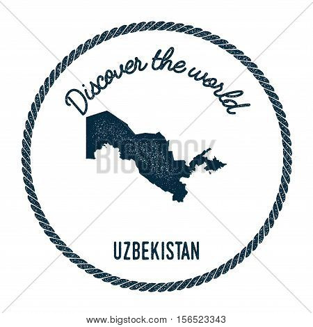 Vintage Discover The World Rubber Stamp With Uzbekistan Map. Hipster Style Nautical Postage Stamp, W