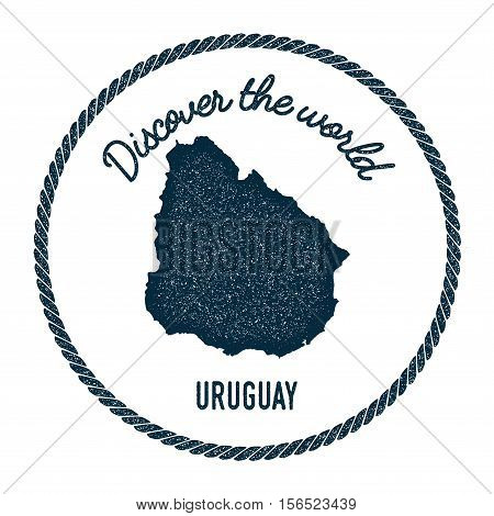 Vintage Discover The World Rubber Stamp With Uruguay Map. Hipster Style Nautical Postage Stamp, With