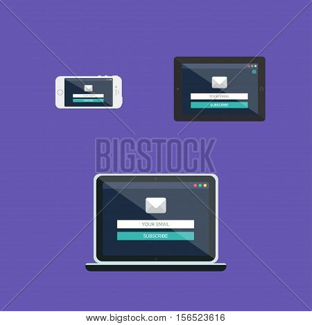 Adaptive Web Template and Gadget Elements for site form of email subscribe newsletter on Smartphone Tablet Notebook. Flat minimalistic pad phone laptop mockups. Vector