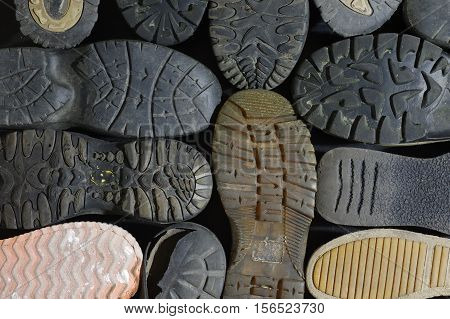 soled shoes old equipment background abstract structure