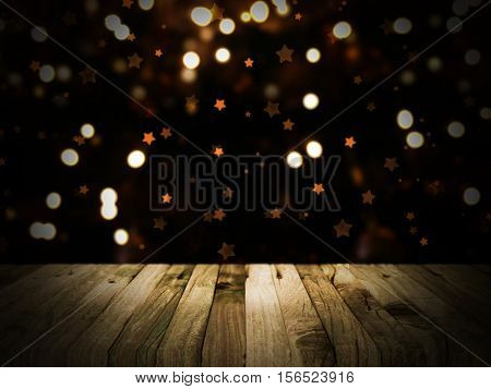 3D render of a wooden table with a defocussed Christmas bokeh lights in the background