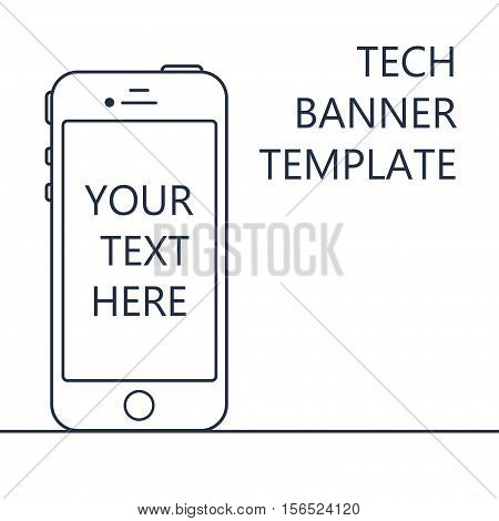 Adaptive Web Template and Gadget Banner with Smartphone. Outline minimalistic phone mockups. Vector