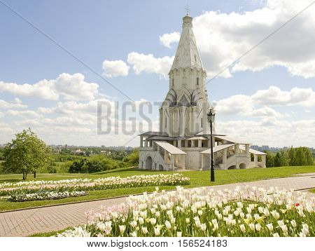 Church of Ascension of Jesus Christ in mansion of Russian kings in park Kolomenskoye in Moscow, Russia,