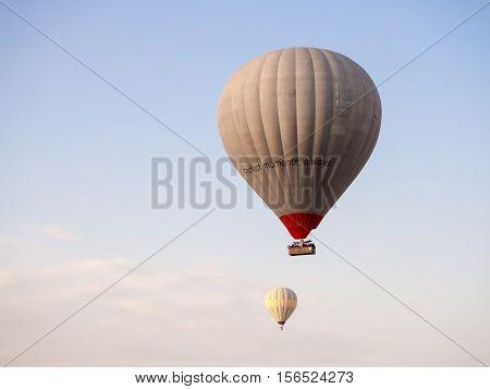 Goreme Nevsehir Turkey - September 16 2016: View from hot air balloon.