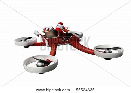 funny Santa on UAV drone delivering presents on Christmas