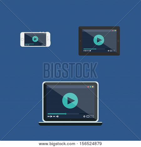 Adaptive Web Template and Gadget Elements for site form of watching online video on Smartphone, Tablet, Notebook. Flat minimalistic pad, phone, laptop mockups. Vector