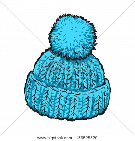 Bright blue winter knitted hat with pompon, sketch style vector illustrations isolated on white background. Hand drawn woolen hat with a big fluffy pompom, winter accessory