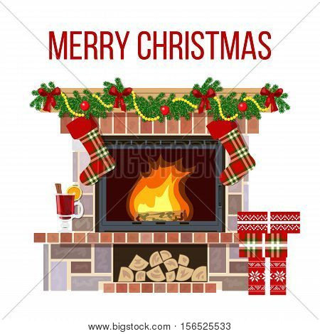 Blazing Christmas decorated fireplace. Cute and cozy burning hearth with wine glass, gifts, candlesticks, firewood, socks, fir garland. For postcards, greetings, prints, textile, background, banner