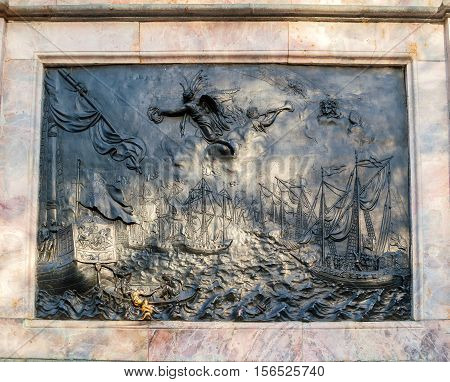 SAINT PETERSBURG RUSSIA-OCTOBER 3 2016. Bronze bas-relief Battle of Gangut at the bronze equestrian monument to Peter I in Saint Petersburg Russia