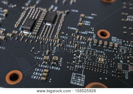 Closeup View On Electronic Circuit Of Videocard.