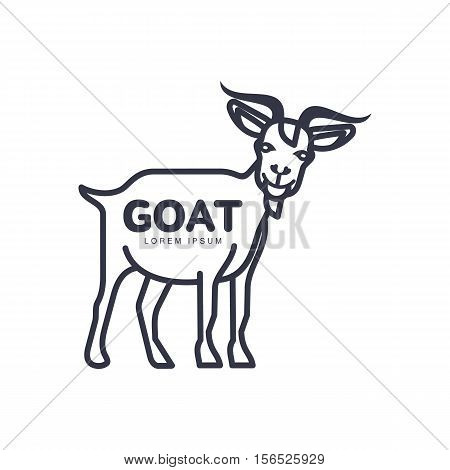 Full length goat outline logo template for meat and dairy products, cartoon vector illustration on white background. Side view goat standing design for dairy, meat, farm products logo design