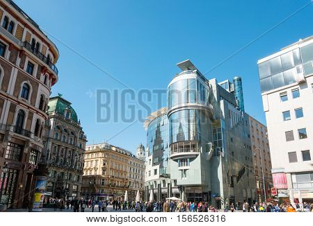 VIENNA, AUSTRIA- April 19, 2016 : Tourists on foot Graben Street in Vienna on July 3, 2014.Vienna is Austria's primary city, with a population of about 1.757 million.