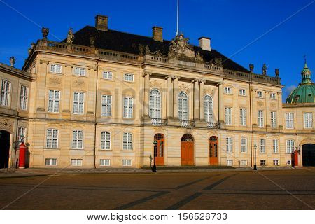 Amalienborg Palace - winter home of the royal family in Copenhagen - Denmark