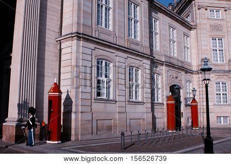 Royal Guard on the square at Amalienborg Castle Copenhagen, Denmark