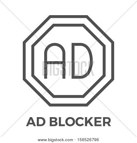 AD Blocker Thin Line Vector Icon Isolated on the White Background.