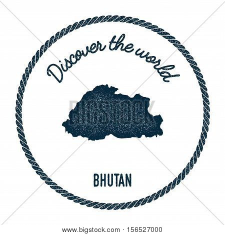Vintage Discover The World Rubber Stamp With Bhutan Map. Hipster Style Nautical Postage Stamp, With