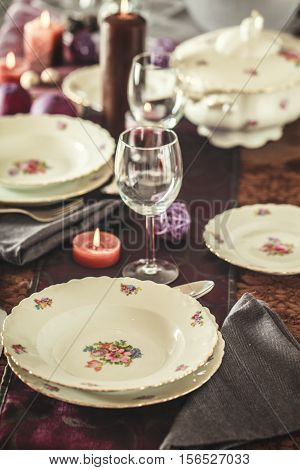 Table setting for dinner. Elegant place setting for restaurant