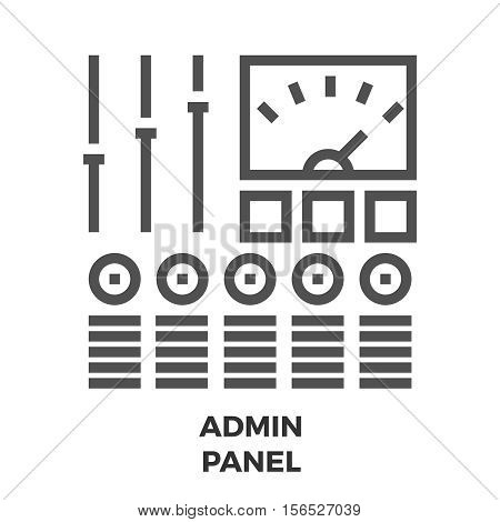 Admin Panel Thin Line Vector Icon Isolated on the White Background.