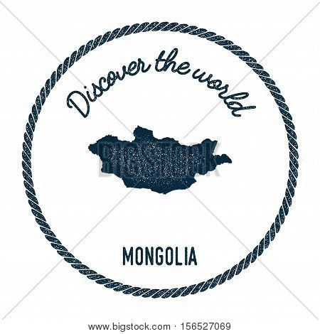 Vintage Discover The World Rubber Stamp With Mongolia Map. Hipster Style Nautical Postage Stamp, Wit