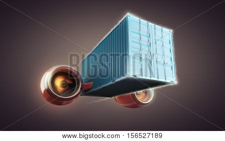 Fast cargo container perform urgent goods delivery, 3d illustration