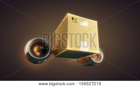 Express delivery of cardboard package, mail or parcel, 3d illustration