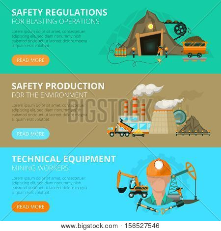 3 flat interactive horizontal banners blast or conventional mining safety regulations  website design abstract isolated vector illustration