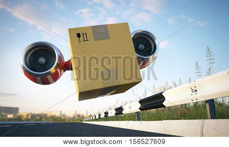 Fast cargo box or container perform urgent goods delivery, 3d illustration