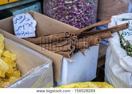 Cinnamon sticks for sale at Grand Bazaar in Tehran capital of Iran