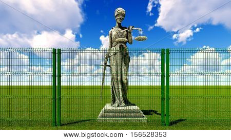 Greek goddess of law and justice behind wire fence 3D rendering