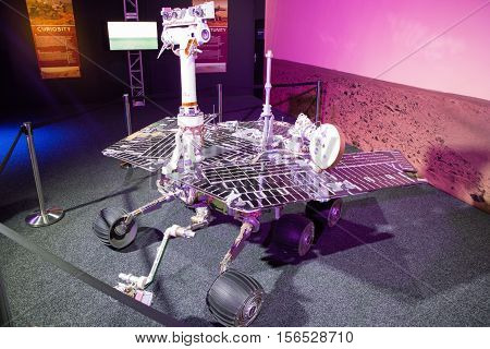 BRATISLAVA SLOVAKIA - NOVEMBER 9: Model of rover Opportunity at exhibition Cosmos on November 9 2016 in Bratislava